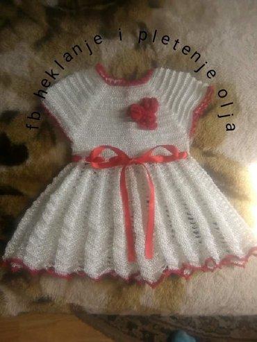 Peci za grejanje - Sokobanja: Haljina za bebe,rucni rad od svilenog konca,za uzrast 3-6m