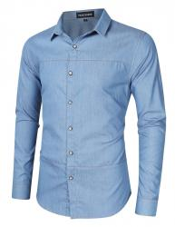 Yong Horse Men's Casual Slim Fit Button Down Long Sleeve Denim Shirt σε Athens