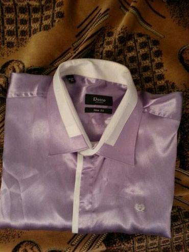 Мужская одежда - Кара-Балта: Праздничная рубашка из атласа,воротник с х/б вставкой