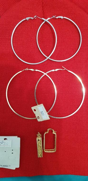 Серьги - Кыргызстан: Новые серьги. Серебряные (метал-нержавейка под серебро) кольца 7 см в