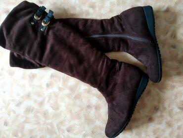 демисезонные замшевые полусапожки в Кыргызстан: Продаю сапоги замшевые. 39 размер, одевала один два раза