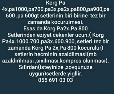İdman və hobbi Tovuzda: Korg  Salam, Her bir Korg modelinin setini, ist