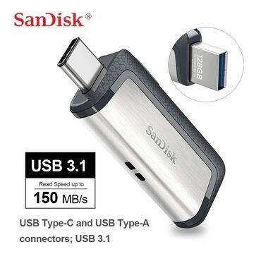 flaşkart qiymətləri - Azərbaycan: Sandisk Type C 128 Gb Telefon Və Komputer Üçün Flaşkart Usb 3.1 Sürət