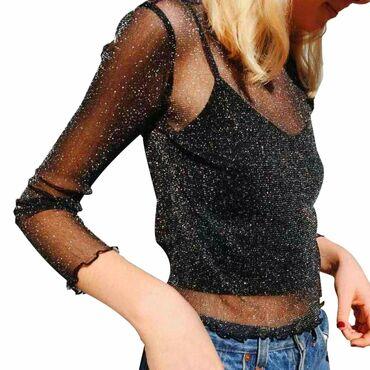 брендовые одежды в Кыргызстан: Кофта-сеточкаРазмер: L.Цвет: черный с серебром (люрекс).*можно носить