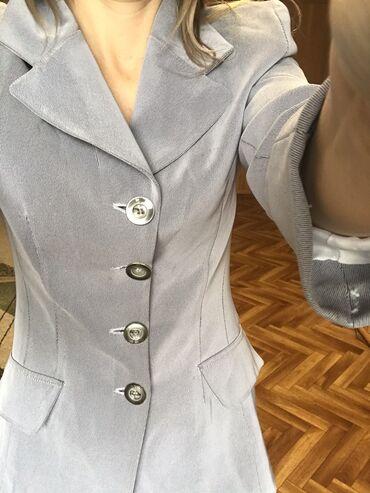 Пиджак женский серо-голубой,  удлиненный Размер 44
