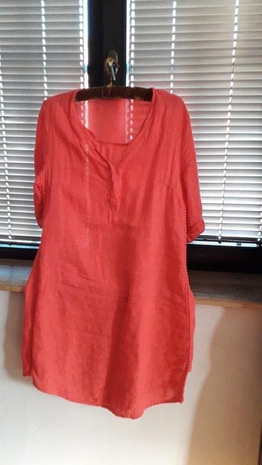 Haljina-ara-univerzalan-broj - Srbija: Lanena haljina. jednom obucena broj l