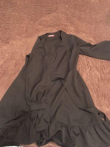 черное длинное платье в Кыргызстан: Продам платье чёрное на запах в хорошем состоянии, длина до колена