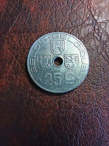 Kovanica 25 centimesa posleratne Belgije cink lepa