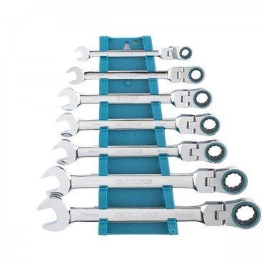 Набор ключей комбинированных с трещоткой, 8-19 мм, 7 шт, шарнирные, Cr