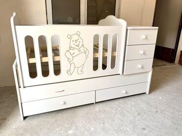 Детская мебель - Бишкек: Манеж трансформер 3 в 1! Новый! Многофункциональная детская кровать с