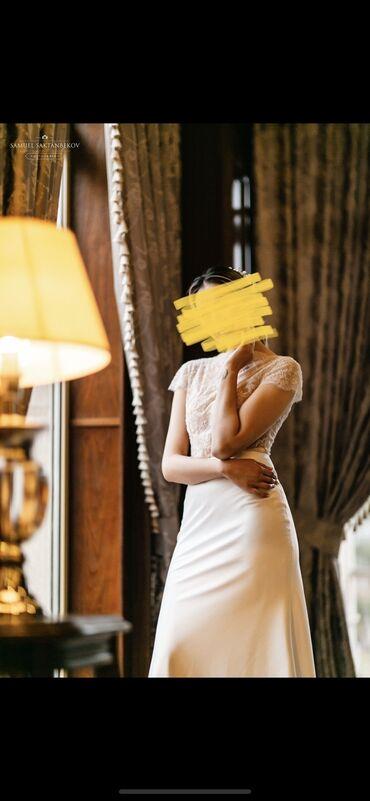 наволочки из атласа в Кыргызстан: Продаю вечернее белое платье из итальянского кружева и атласа (одевала