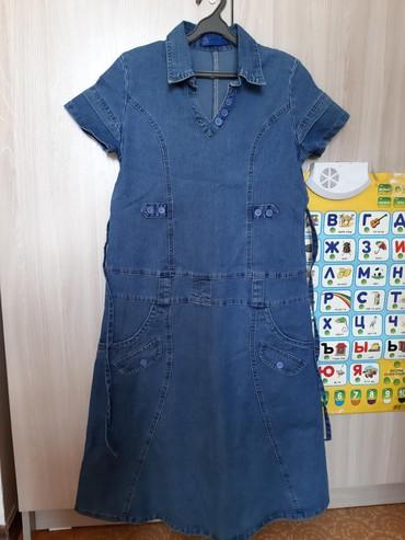 джинсовое платье для беременных в Кыргызстан: Платье джинсовое для беременных, одето один раз резко вырос живот