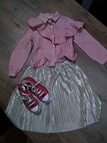 Dečija odeća i obuća - Nova Pazova: Suknja Zara kids vel 8, košulja Zara kids vel 8, starke converse br