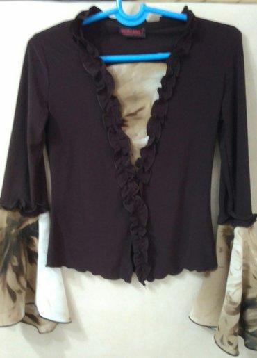 блузки с коротким рукавом в Кыргызстан: Блузка Турция р.42-46 в хор.сост. Стрейч с модными рукавами из шифона