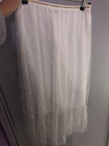 Bela suknja sa radom i biserima Nosena 1x Bukvalno kao nova