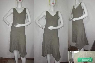 Beneton maslinasto zelena lanena asimetricna haljina - Novi Sad