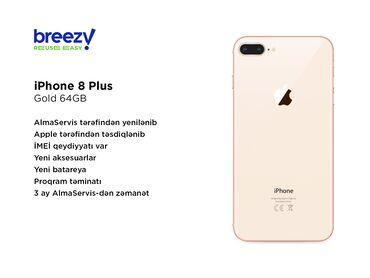 IPhone 8 Plus | 64 GB | Qızılı | İşlənmiş | Zəmanət, Simsiz şarj, Sənədlərlə
