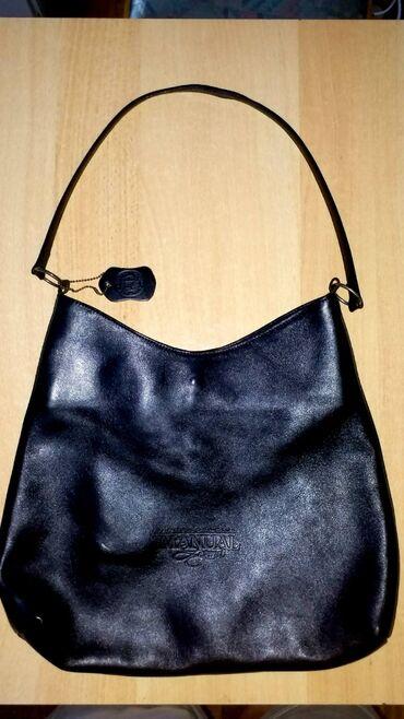 Manual torba - Srbija: Elegantna zenska crna tasna MANUAL,100% prirodna koza. Dimenzije 37x30