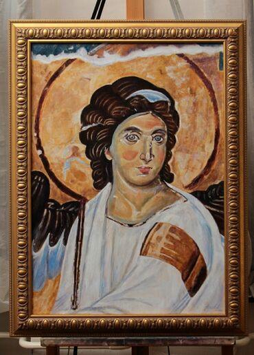 Nova haljina - Srbija: URAMLJENO Ulje na Platnu - Beli Anđeo - 70x50cm Umetnička Slika