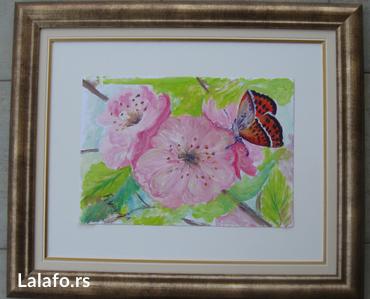 Grancica i leptir, ulje na kartonu 40x30 cm ,  neuramljeno, ram je - Smederevo