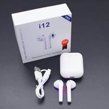 Сенсорные беспроводные наушники i12 TWS. Наушники с отличным качеством