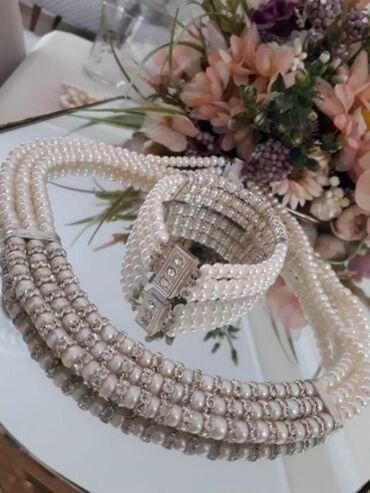 Ожерелье роскошное новое из натурального жемчуга в три ряда плюс брасл