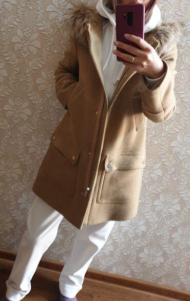 Продаю пальто теплое в идеальном состоянии коричневого цвета, мех