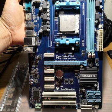 Материнские платы - Кыргызстан: 5 Видеокарт! Giga A55 S3P + AMD A3300 процессор!Плата работает с