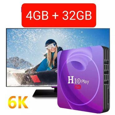 android tv box - Azərbaycan: Tv box android smart tv box tuner yeni model original h10 play 6k 4/32
