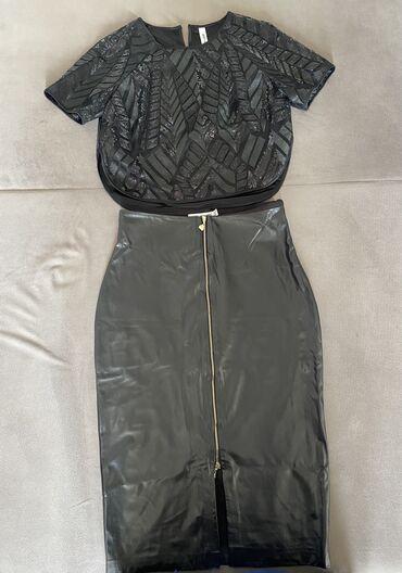 Итальянский костюм кожанная юбка и нарядный топ с паетками (на юбке