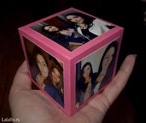 Izrada poklon kocka, sa 4 slika, i prostorom za poklon unutra ili - Bor