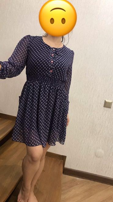 шифоновое платье батал в Кыргызстан: Шифоновое платье синего цвета. Размер стандартный