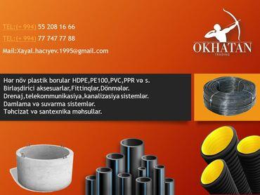 Hər növ plastik borular HDPE,PE100,PVC,PPR və s.Birləşdirici