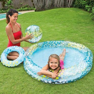 Hava döşəməsi - Azərbaycan: TəsviriUşaq şişmə havuzu Circle Pool Set Intex 59460 bir plaj topu və