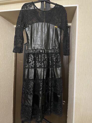 Продаю платье кружевное, с вставками из эко кожи, состояние отличное