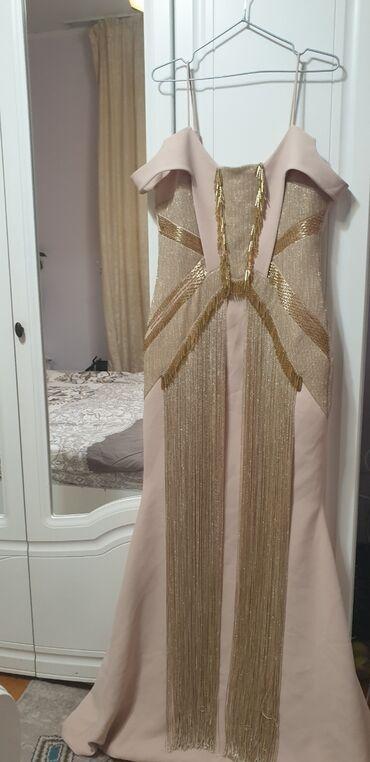 атласное платье со шлейфом в Кыргызстан: Шикарное вечернее платье . Золотое платье. С маленьким шлейфом сзади