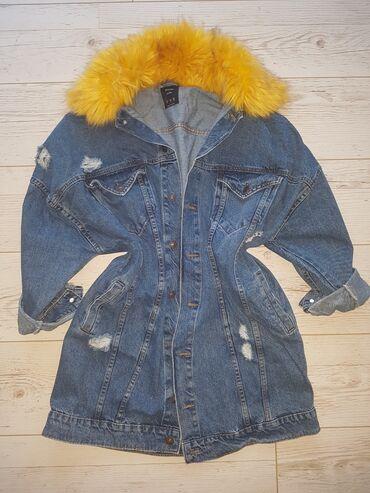 Krzno - Srbija: Bershka teksas jakna duga oversize Krzno se skida