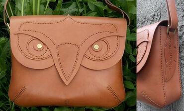 Стильная оригинальная сумка из натуральной кожи. полностью ручная