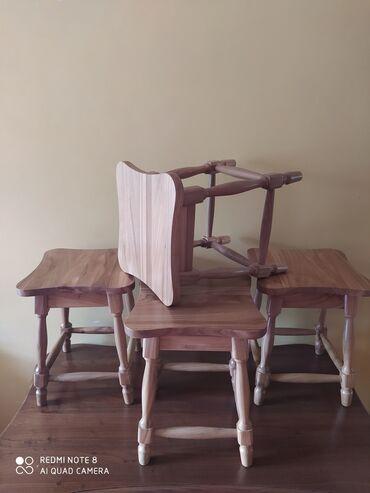 Стол+4 табуретки карагач,массив. Покрытие лак (Италия). Размер
