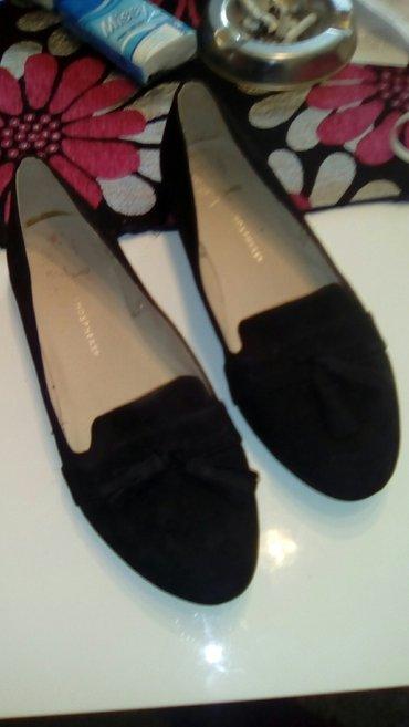 Cipele, ravne, prevrnuta koža, crne, ne obuvene br 38, antilop, vrlo - Smederevo