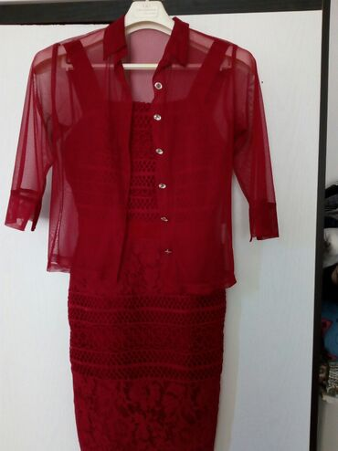 Haljine   Bogatic: Svecana cipkana haljina bordo L velicina. Sa laganim tanka m providnim