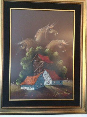 Mesar - Srbija: Janoš mesaroš, pastel, lukduzno uramljen, 70x50