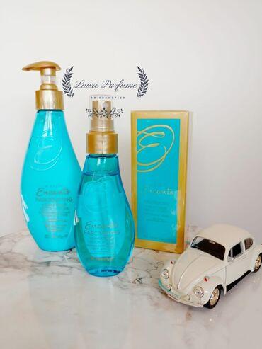 jev cosmetics - Azərbaycan: Encanto qadın baxım desti.Setin terkibine 50ml-parfüm,beden
