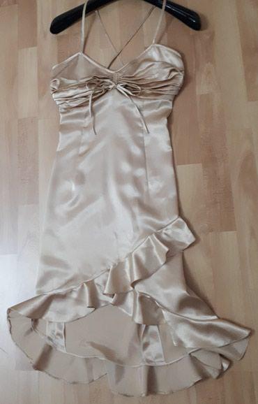 Zlatna svecana satenska haljinica S br. ukrsta se na ledjima, napred - Jagodina