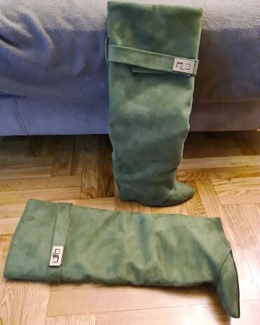 Maslinaste zelene dzeparice - Srbija: Cizmice od velura u maslinasto zelenoj boji  Cizmice su nosene samo je