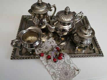 10413 elan   İDMAN VƏ HOBBI: Gümüşlənmiş melxior çay dəsti.Fransa.1950-ci illər.əla vəziyyətdə