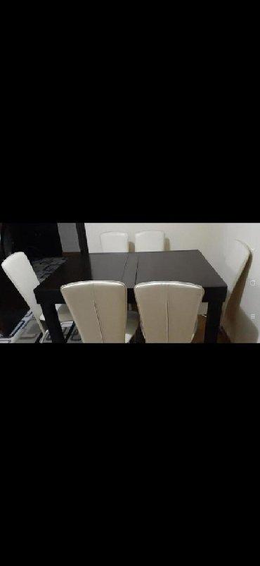 Xırdalan şəhərində 210manata 6eded stul acilan stolla bir yerde satilir.Defektleri