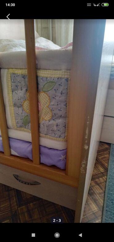 бу детские кроватки в Кыргызстан: Продаю детскую кроватку,с тонким матрасом (паралоновый в чехле)