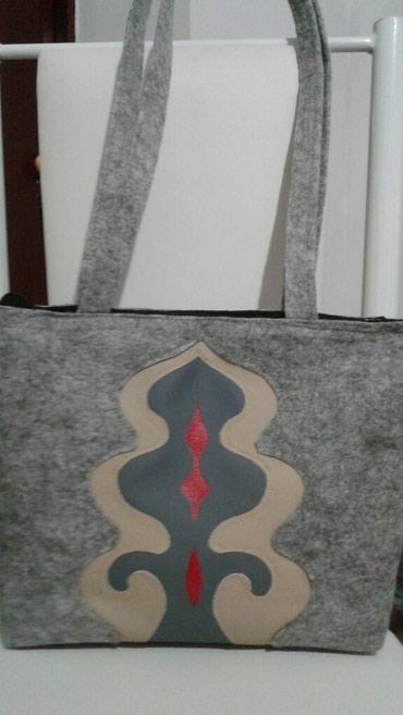 f49c292f301c Сумка из фетра с комбинированным орнаментом из кожи в Бишкек - фото 3