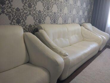 Мебель - Беловодское: Срочно продаю кожаный диван + 2 кресла. Состояние отличное!!! Цена -